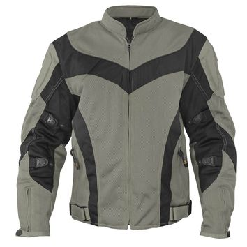 Xelement CF6019 Invasion Mens Gray/Black Mesh Armored Motorcycle Jacket with Gu