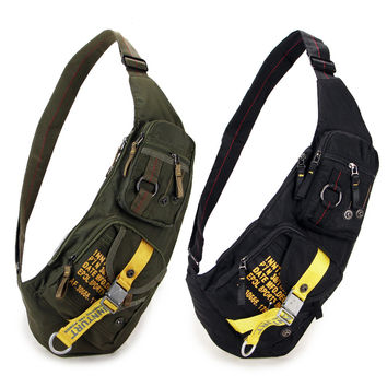 Casual Military sling Chest bag Shoulder bag for men women small Black Green 1142