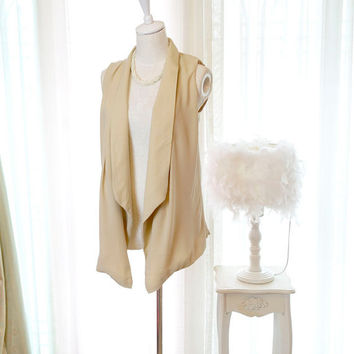 Sophisticated Romantic Spring drape collar sleeveless chiffon blouse Vest jacket light khaki