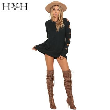 HYH HAOYIHUI Dark Green Knitted Sweater Women O-neck Cut Out Long Sleeve Slim Pullover Ladies Elegant Lounge Jumper Female