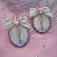 Pastel Ice Cream Cone Cameo Earrings