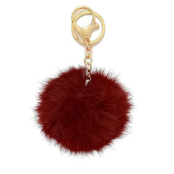Burgundy Rabbit Fur Pom Pom Key Chain / Bag Charm Key chain, gift