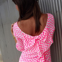 Neon Pink Chevron Bow Blouse | The Rage
