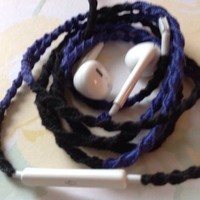 MyBuds Wrapped Tangle-Free Earbuds for iPhone | Dark Blue & Black | with Microphone and Volume Control