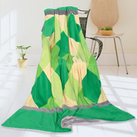 Onitiva Plaids Grassland Soft Coral Fleece Patchwork Throw Blanket in 59 by 78.7 inches
