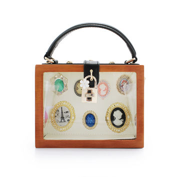 Transperant wooden clutch bag fashion women bags evening party purses