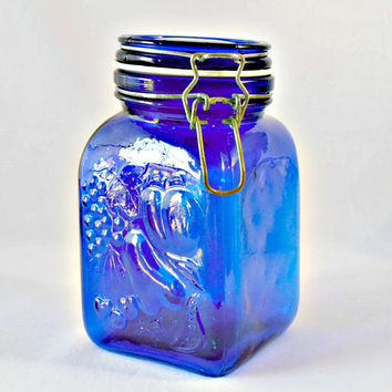 Blue Cobalt Glass Canister Embossed Jar, General Store Lid, Metal Wire Bale Locking Jar, Blue Canning Jar, Kitchen Storage Container