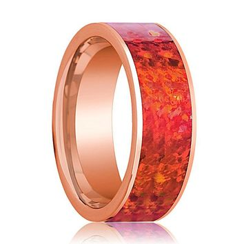 Mens Wedding Band 14K Rose Gold with Red Opal Inlay Flat Polished Design