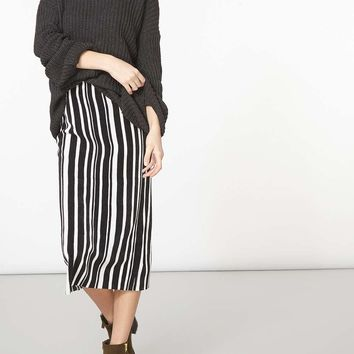 Monochrome Stripe Plise Tube Skirt | Dorothyperkins