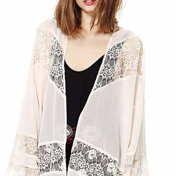 Light Pink Bell Sleeve with Floral Lace Accent Kimono Cardigan