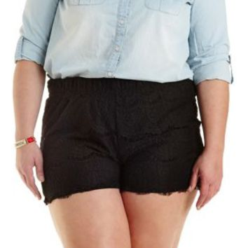 Plus Size Black High-Waisted Lace Shorts by Charlotte Russe