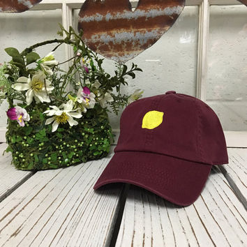 LEMON Baseball Hat Low Profile Embroidered BURGUNDY Baseball Caps Dad Hats