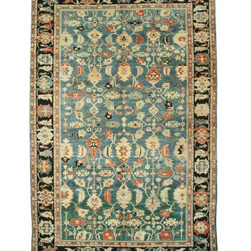 EORC Hand-knotted Wool Blue Traditional Geometric Bergama Rug