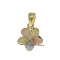 9MM 14K SOLID PINK WHITE YELLOW TRICOLOR GOLD HAWAIIAN PLUMERIA FLOWER PENDANT