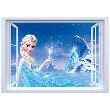Girls favorite anime images Princess Elsa Anna fake 3d window vinyl wall stickers kids bedroom living room decoration posters