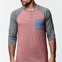 On The Byas Cal Pocket Henley Baseball T-Shirt - Mens Shirt - Red