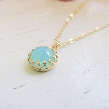 Gold opal necklace, gold necklace, gold necklace with pacific opal stone, opal necklace, bridal jewelry, opal necklace