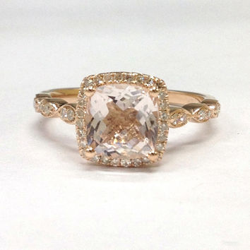 Morganite Engagement Ring 14K Rose Gold!Diamond Wedding Bridal Ring,Art Deco Antique,7mm Cushion Cut Pink Morganite,Can make matching band