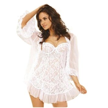 Plus Size Sexy Lace Strapless Corset Sexy Lingerie Sleepwear Set