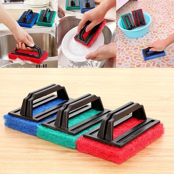 2PC Kitchen Accessories Cleaning Brush Handle Strong Decontamination Hard Bottom Clean Sponge Brush