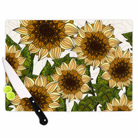 "Art Love Passion ""Sunflower Field"" Beige Yellow Cutting Board"
