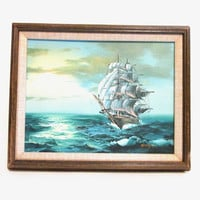 Vintage Ship Painting, Framed Nautical Wall Art Hanging