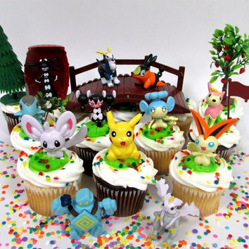 POKEMON GO 18 Piece Themed Birthday Cupcake Topper Set Featuring 12 RANDOM Po...