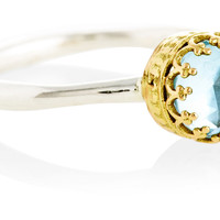18K Gold w/ Blue Topaz Ring