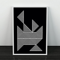 Monochrome art, Geometric poster, Wall art, Black and white, Abstract poster, Modern print, Nordic design, Chic art, A4 poster, Wall poster