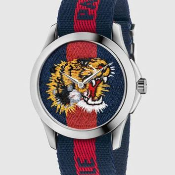 ac NOVQ2A GUCCI bee or tiger icon, fashion, hot sale watch L-PS-XSDZBSH Blue and red(tiger)