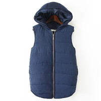 Pure Color Hooded Mosaic Knit Vest Outerwear