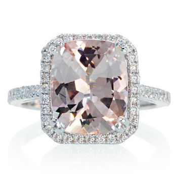 White Gold 11x9 Cushion Cut Diamond Halo Solitaire Morganite Engagement Ring Wedding Anniversary Gemstone Ring