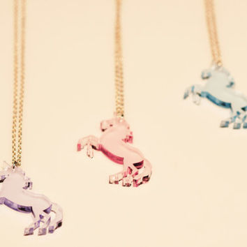 Unicorn Laser Cut Necklace in Clear Pastel Acrylic. Horse with a Horn, Mythical Creature Pendant in Translucent Coloured Perspex