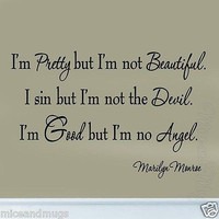 I'm Pretty But I'm Not Beautiful Marilyn Monroe Vinyl Wall Art Quote Decal Words