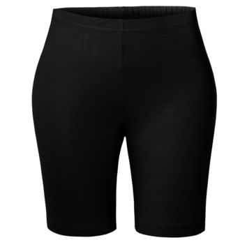 Active Mid Thigh High Waist Stretchy Cotton Jersey Cycling Bike Short