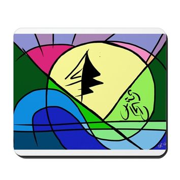 CYCLIST IN HILLS ABSTRACT MOUSEPAD