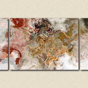 "Oversize abstract expressionism stretched canvas print, 30x60 to 40x78 triptych, in autumn colors, ""Early Snow"""