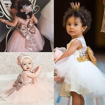 Pricess Kids Baby Girl Sequins Boknot Dress Party Dresses Christmas Costume 0-10Y