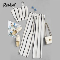 ROMWE Knot Striped Cami Top With Pants Summer Spaghetti Strap Sleeveless Wide Leg 2018 Summer Women White Casual Two Piece