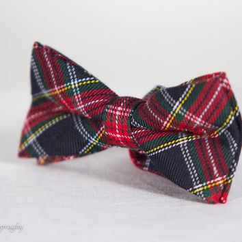 Red and Green Plaid Cotton Bow Tie