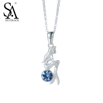 SA SILVERAGE Real 925 Sterling Silver Jewelry Mermaid Necklaces Pendant Fine Jewelry Blue CZ Fine Jewelry Accessories