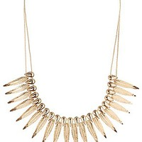 DOUBLE CHAIN FEATHER STATEMENT NECKLACE