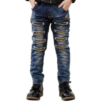 PEAP78W Kids Casual Jeans Children Fashion Boys Elastic Embroidery Denim Pants Trousers Bottoms for 7-12Y