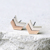 In All Directions Silver and Rose Gold Earrings