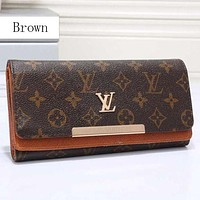 LV women's leather trendy fashion wallet F Brown