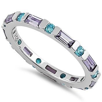 Aqua Blue & Amethyst Eternity Ring