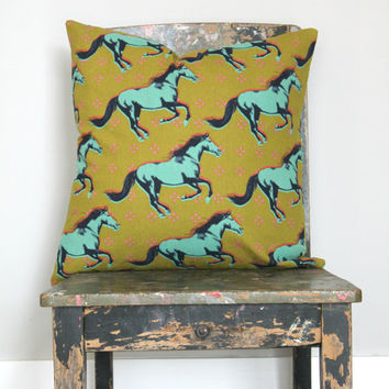 Linen & cotton horse pillow cover, acid yellow, navy, hot pink and aqua, horse cushion cover, horse decor Melody Miller