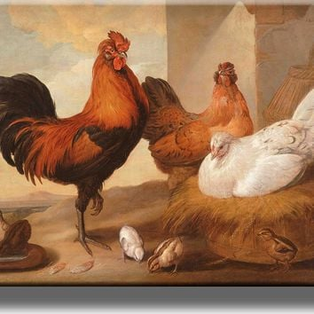 Rooster and Chicken Picture on Acrylic , Wall Art Decor Ready to Hang!.