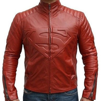 Men Leather Jacket, Superman Movie Classic Superman Man of Steel Smallville Red Style Leather Biker Jacket, Men Red Leather Motorcycle Jacket. = 1945922244