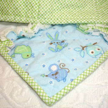 Baby Boy Rag Quilt Blanket Throw  Blue Green Yellow  by KeriQuilts